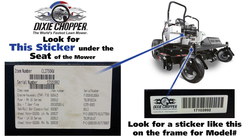 Find Your Dixie Chopper Mower Model Number Power Mower Sales