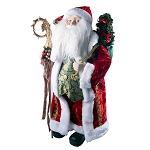 "24"" Santa Claus Standing Red Figure Festive Christmas Holiday Decor – Deluxe Realistic Plush Figure with Toy Bag & Cane"