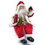 Realistic Sitting Santa Christmas Shelf Ornament with Festive Gifts and Vest / Perfect for Shelves, Fireplaces, & More
