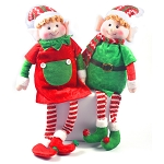 2 PK Adorable Sitting Christmas Elves for Shelves - Xmas Ornament Plush Holiday Festive Home Figure Decoration