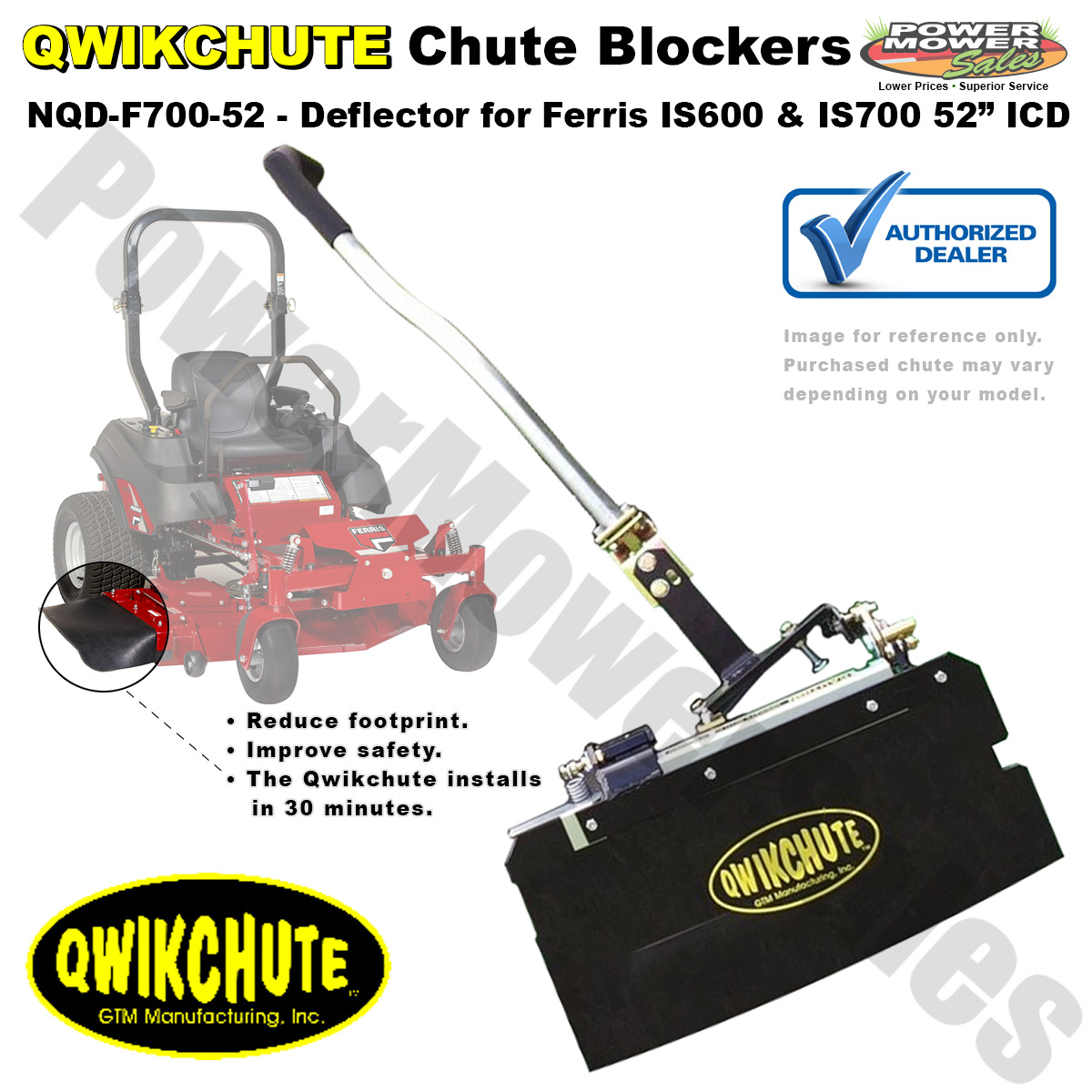 Qwikchute Chute Blocker / Deflector for Ferris IS600 & IS700 Lawn Mowers  with 52 inch ICD Decks / NQD-F700-52