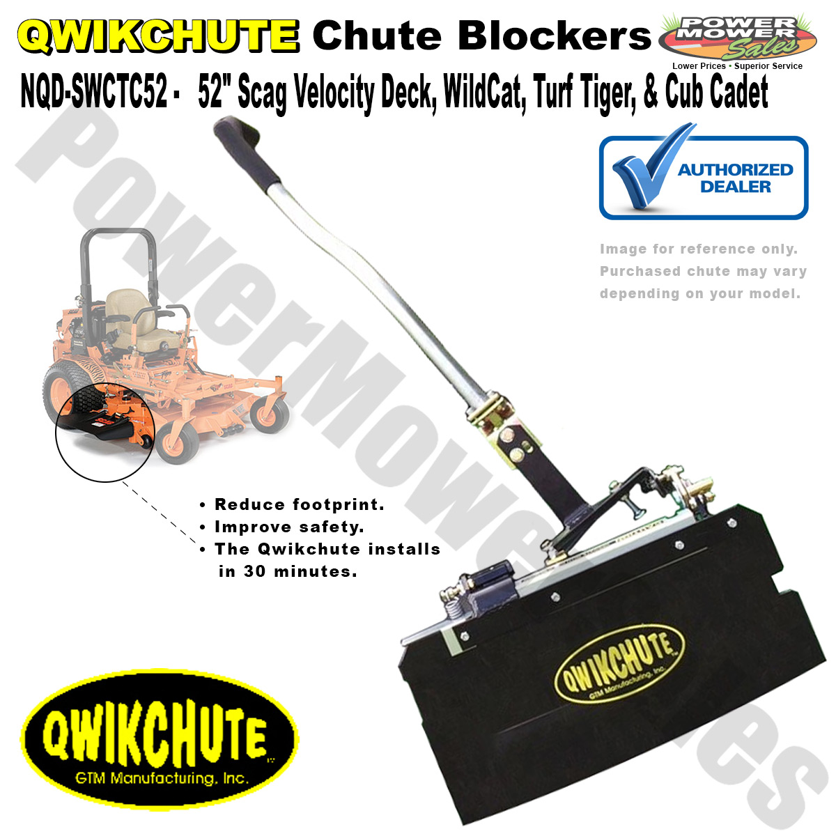 Qwikchute Chute Blocker Deflector For Scag 52 Inch Decks