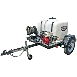 3200 PSI Pressure Washer Trailer System - Cold Water GX200 - 100 gal tank, 2000 lb axle w/ 50' Hose