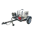 4200 PSI Pressure Washer Trailer System - Cold Water GX390 Electric Start - 150 gal tank, 2000 lb axle w/ 100' Hose