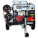 4000 PSI Pressure Washer Trailer System - Hot Water GX390 Electric Start - 200 gal tank, 3500 lb axle w/ 100' Hose & Low Pressure Hose Reel w/ 75' Hose