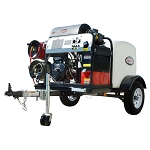 3500 PSI Pressure Washer Trailer System - Hot Water 479cc Vanguard Electric Start - 200 gal tank, 3500 lb axle w/ 100' Hose & Low Pressure Hose Reel w/ 75' Hose