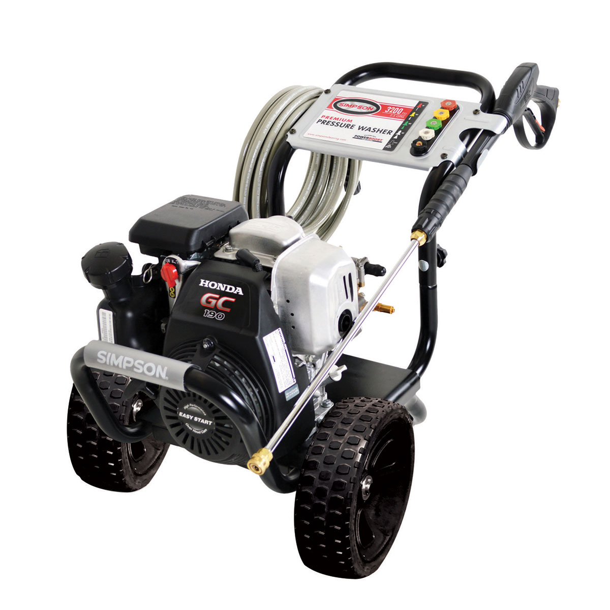 3100 PSI Megashot Premium Residential Series Pressure Washer with a Honda GC 190 engine and a 25' hose - MSH3125-S