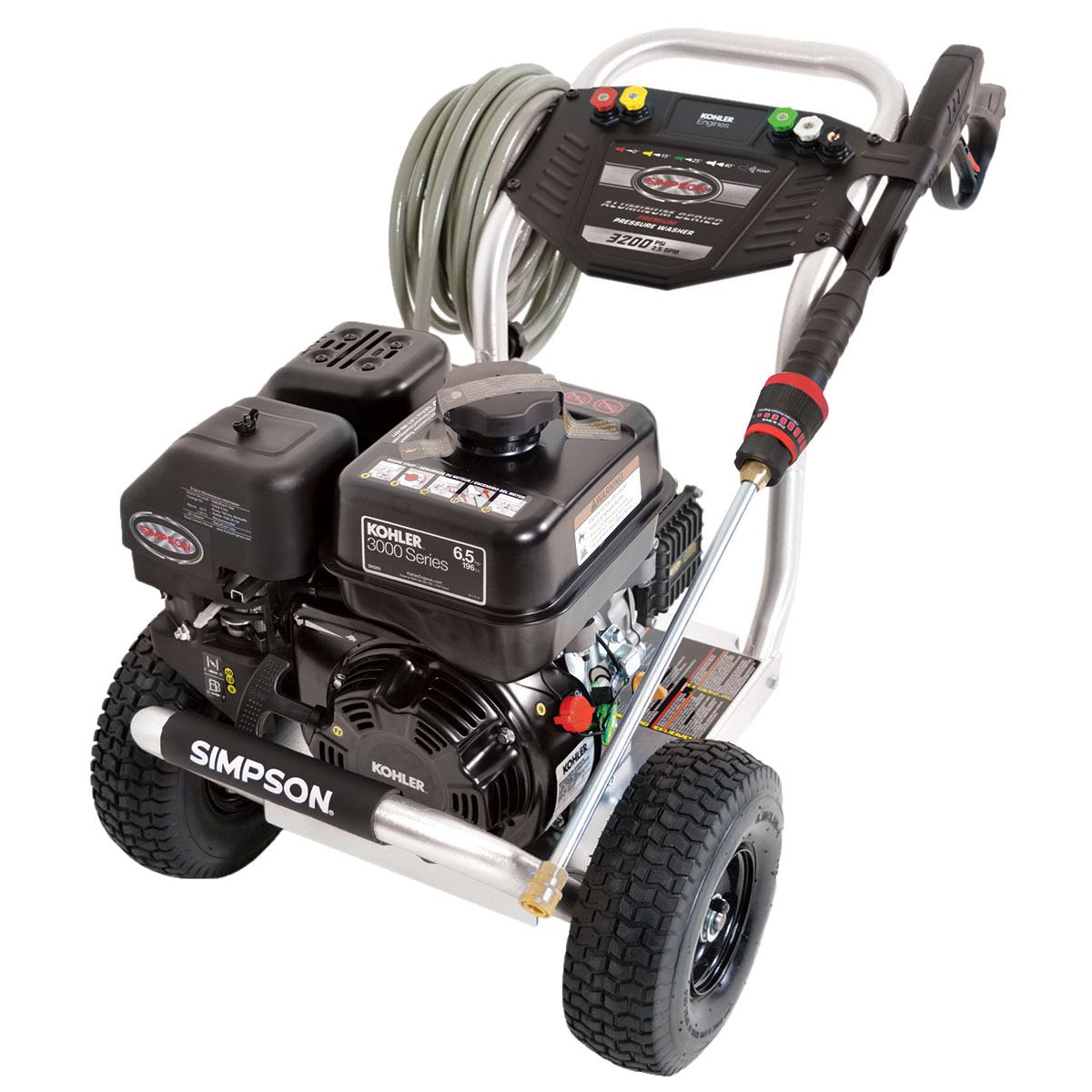 3200 PSI Aluminum Series - Commercial Direct Drive Pressure Washer with a Kohler SH265 engine and a 25' hose - ALH3225-S