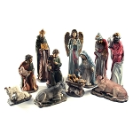 "17"" Complete Christmas Nativity Set Deluxe Italian Style - Premium Quality Realistic 11 Piece Gilded Resin"