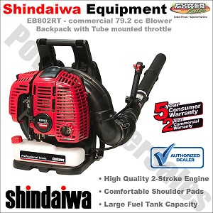 Shindaiwa Commercial 79.2 cc Backpack Blower with tube mounted throttle - EB802RT