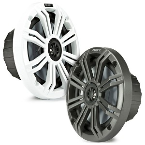 Set of 2 Kicker KM65 6.5-Inch 2-Way Marine Coaxial Speakers w/ Charcoal and White Grilles - 45KM654