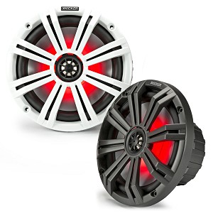 "Set of 2 Kicker KM 8"" Coaxial Speakers with LED Charcoal and White Grilles - 45KM84L"