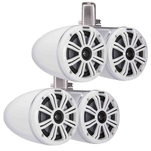 "Set of 2 Kicker Marine Dual 6.5"" Coaxial Tower Speakers w/ LED's - 45KMTDC65W"
